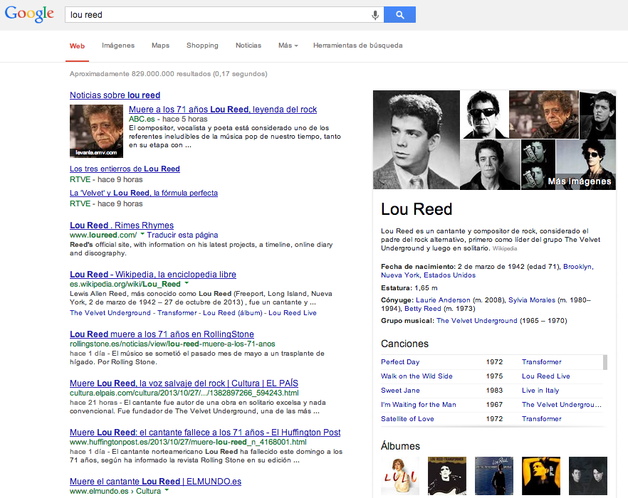 resultados knowledge graph en Google