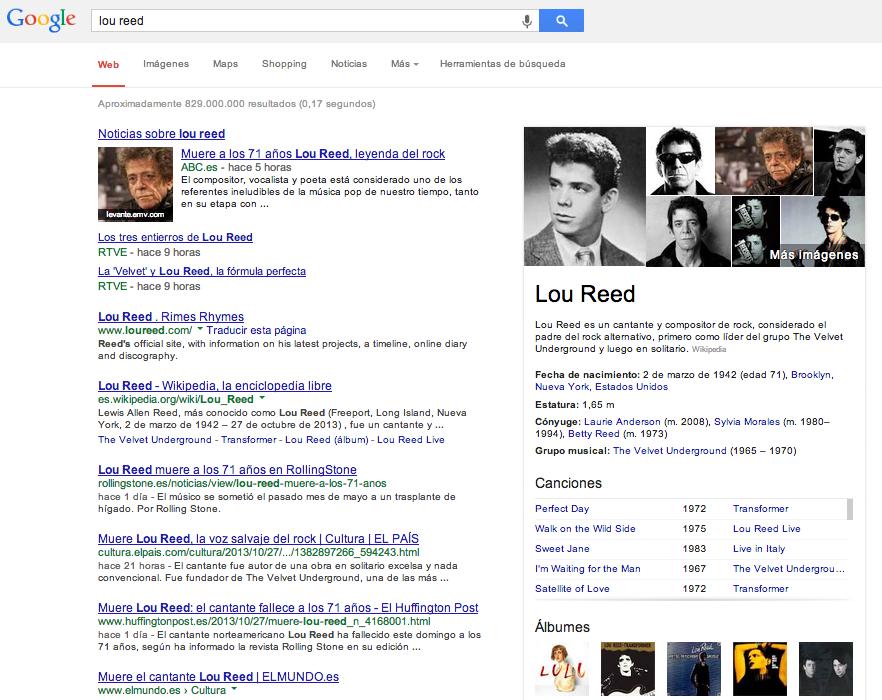 resultados knowledge graph en Google