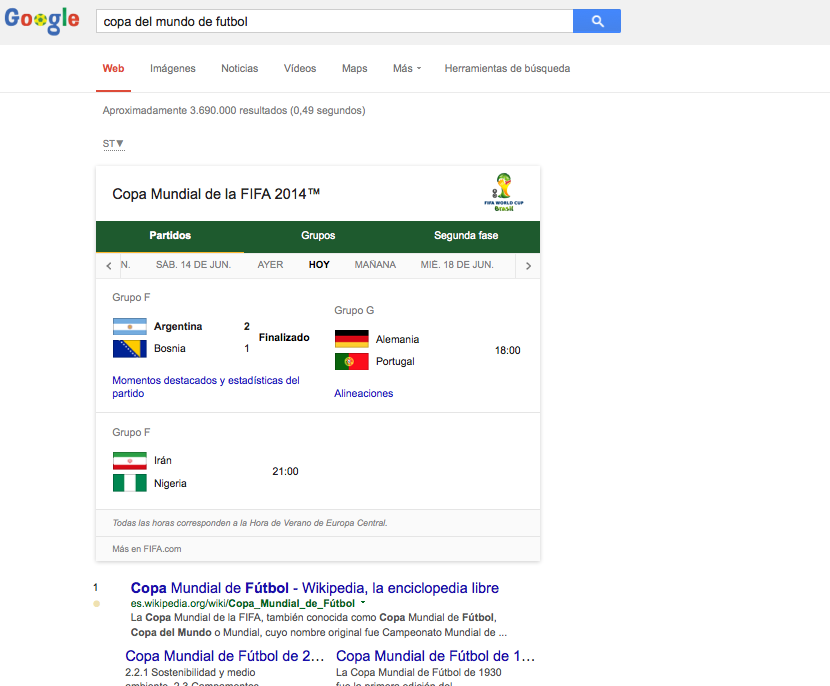 Copa del Mundo-Google screenshot