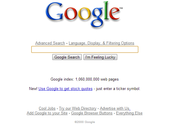 Así era Google en el 2000