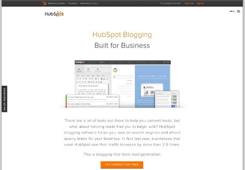 Landing page de Hubspot para activar usuarios interesados en un 'blogging software'