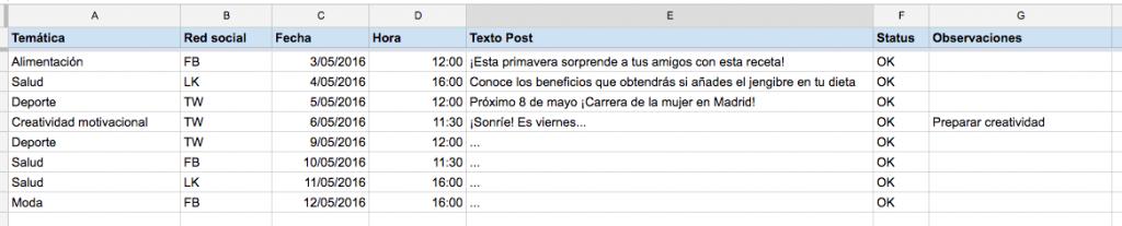 calendario contenido redes sociales plantilla