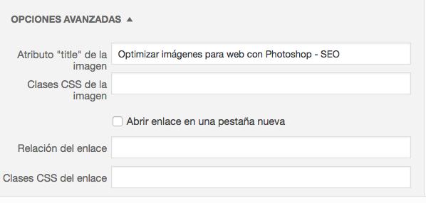 Establecer el title en una imagen de WordPress