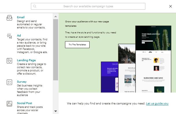 Crear campaña en Mailchimp